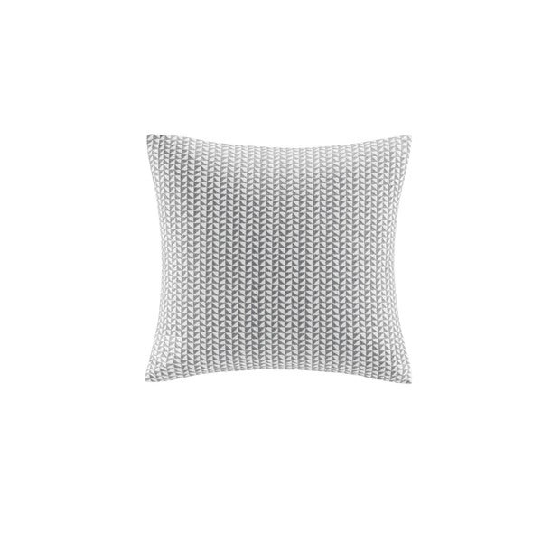 INK+IVY Tait Grey Cotton Embroidered Block Decorative Throw Pillow