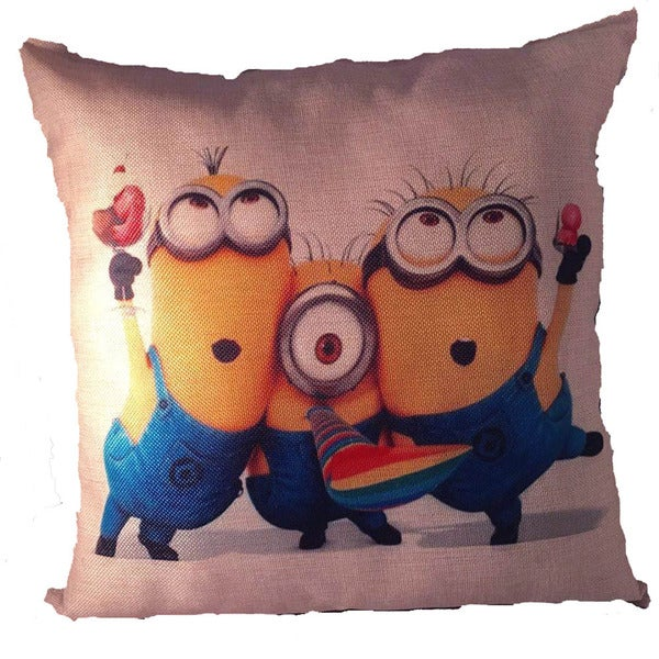 Lillowz Minions Celebration Canvas 17-inch Full-size Throw Pillow