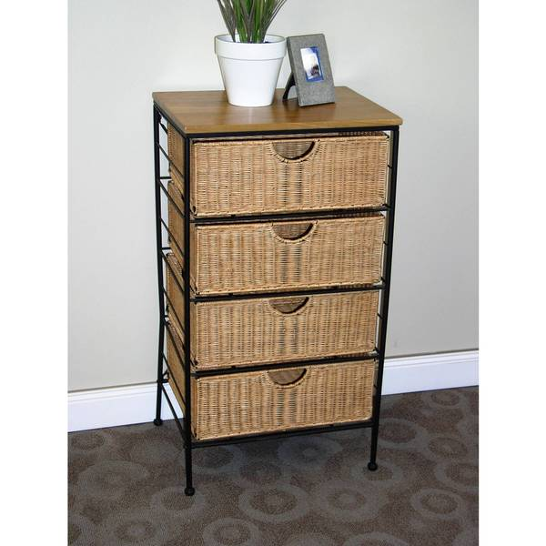4-drawer Black and Brown Wicker Chest