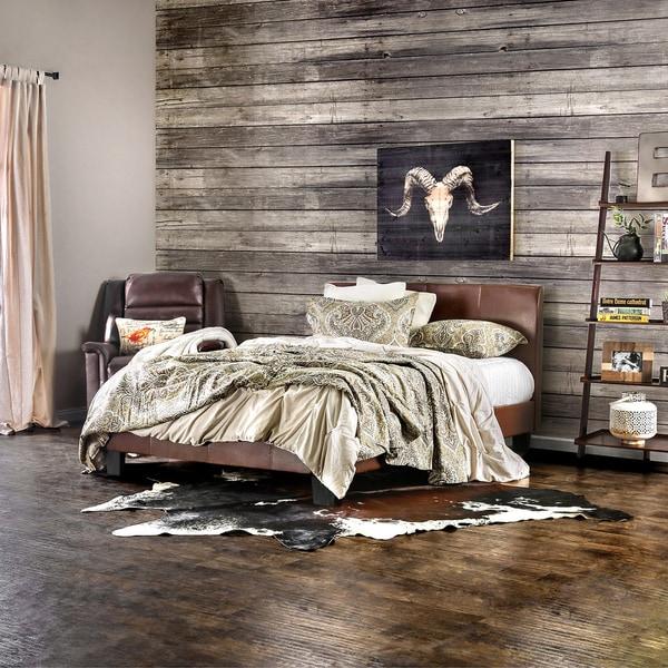 Furniture of America Villazo Dark Caramel Padded Leatherette Platform Bed