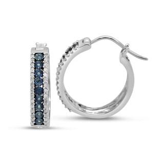 Sterling Silver 2/5ct TDW Diamond Hoop Earrings (H-I, Black, Blue I1-I2)
