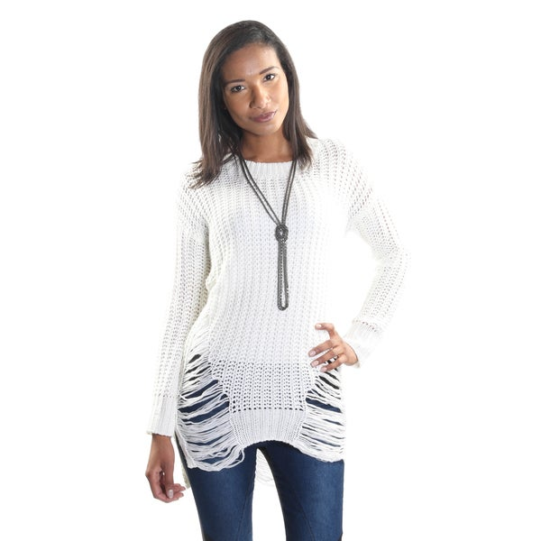 Hadari Women's Round Neck Long Sleeve Woven Sweater Tunic