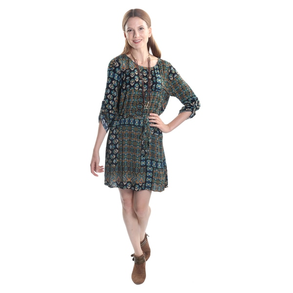 Hadari Women's 3/4 Sleeve Shift Dress