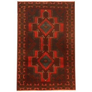 Herat Oriental Afghan Hand-knotted 1960s Semi-antique Tribal Balouchi Wool Rug (3' x 4'6)