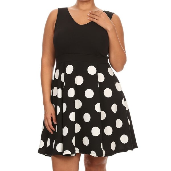 Plus Size Women's Black Pola Dot Polyester/Spandex Fit & Flare Dress