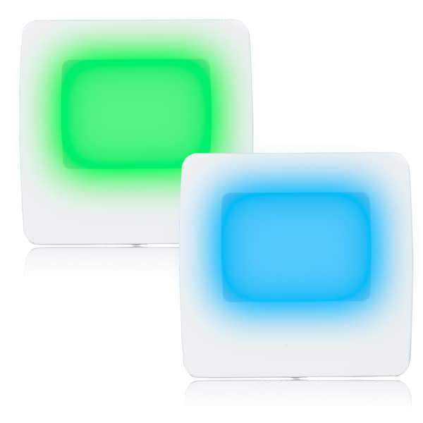 Maxxima Green/Blue LED Night Light with Switch (Pack of 2)
