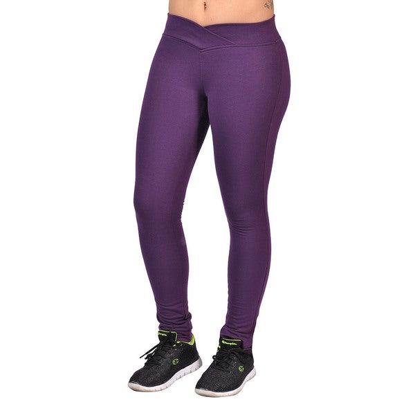 Fashion Women's Purple Curved Front Elastic Waist Leggings