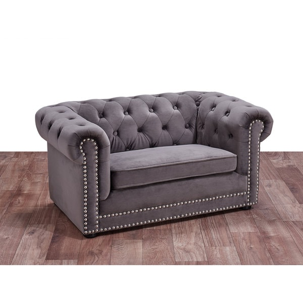 Husky Grey Velvet Tufted Couch Pet Bed with Nailhead Trim - 19320821 - Overstock.com Shopping ...