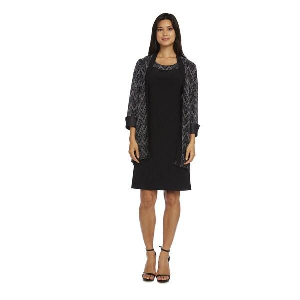 R&M Richards Women's Black/Grey Polyester Jacket Dress