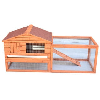 Pawhut Outdoor Guinea Pig/Ferret/Rabbit Water-Resistant Pet House Hutch with Ramp to a Large Outside Run & Easy Clean Tray