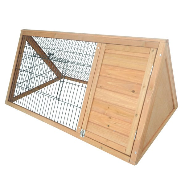 Pawhut Outdoor Triangular Wooden Bunny Rabbit Hutch Guinea Pig House with Run