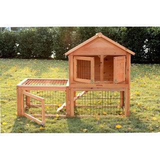 Pawhut Wooden Bunny Rabbit Hutch with Outdoor Run
