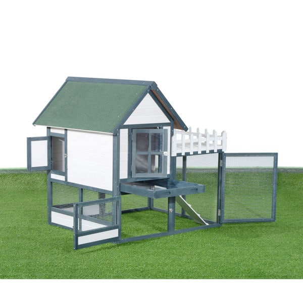 Pawhut 52-inch Green and White Wooden Chicken Coop/ Rabbit Hutch with Outdoor Run