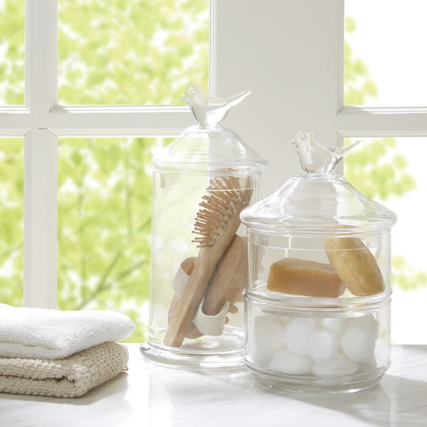 Madison Park Bird Top Glass 2 Piece Bath Accessory Set