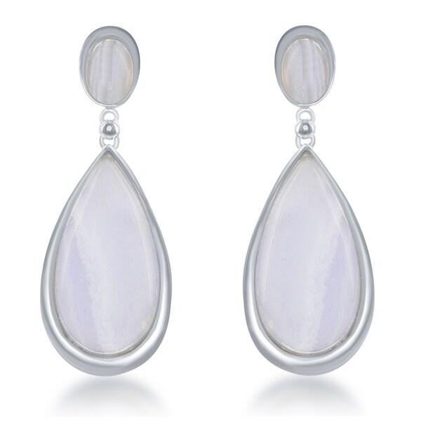 La Preciosa Sterling Silver Large Teardrop Gemstone Earrings