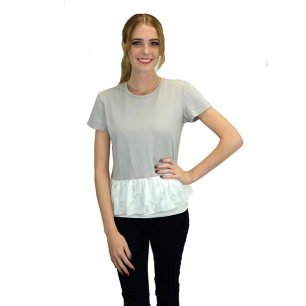 Relished Women's Fog Grey Cotton Peplum Tee