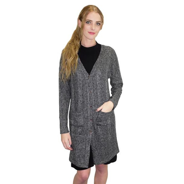 Relished Women's Charcoal Acrylic Longline Elbow-patch Cardigan