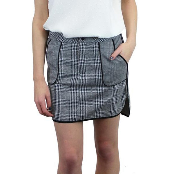 Relished Women's Cotton/Polyester Houndstooth Plaid Mini Skirt