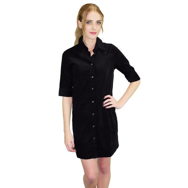 Relished Women's Black Corduroy Shirt Dress