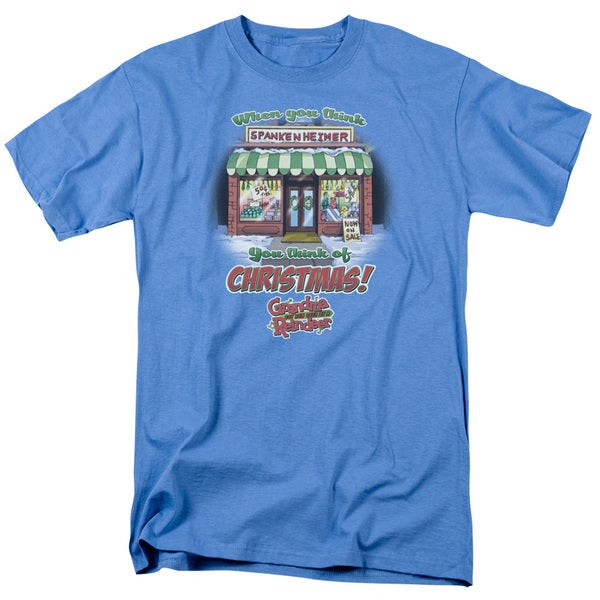 Grandma Got Run Over By A Reindeer/Think Christmas Short Sleeve Adult T-Shirt 18/1 in Carolina Blue