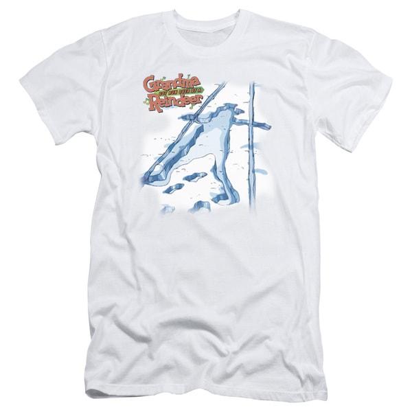 Grandma Got Run Over By A Reindeer/Grandma Was Here Short Sleeve Adult T-Shirt 30/1 in White