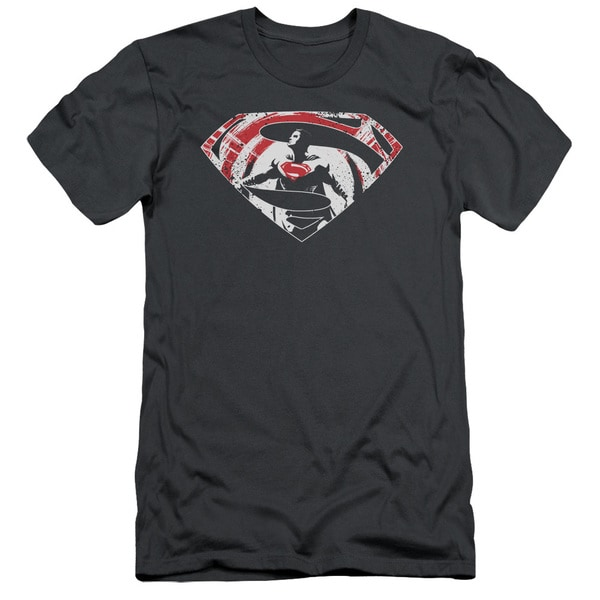 Batman V Superman/Super Splatter Logo Short Sleeve Adult T-Shirt 30/1 in Charcoal