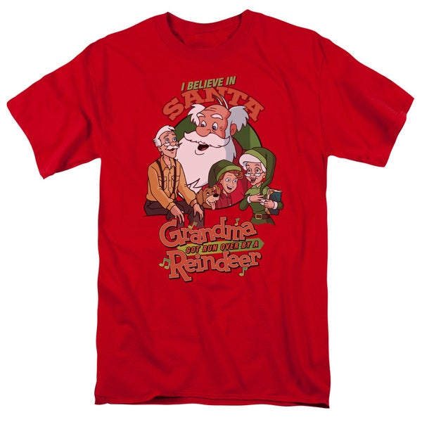 Grandma Got Run Over By A Reindeer/I Believe Short Sleeve Adult T-Shirt 18/1 in Red