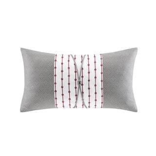 N Natori Cherry Blossom Grey Cotton Oblong Pillow
