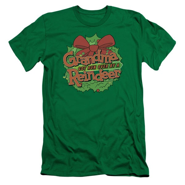 Grandma Got Run Over By A Reindeer/Grandma Logo Short Sleeve Adult T-Shirt 30/1 in Kelly Green