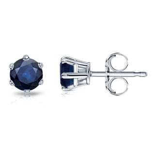Auriya 14k Gold 1/2ct 6-Prong Push-Back Round-Cut Blue Sapphire Gemstone Stud Earrings
