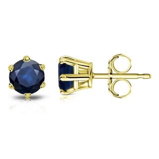 Auriya 14k Gold 3/4ct 6-Prong Push-Back Round-Cut Blue Sapphire Gemstone Stud Earrings