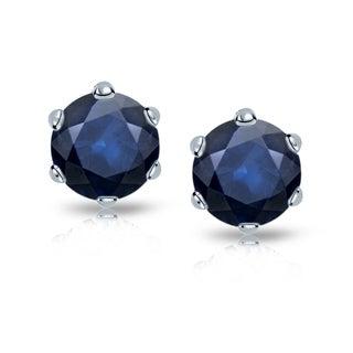 Auriya 14k Gold 2ct 6-Prong Push-Back Round-Cut Blue Sapphire Gemstone Stud Earrings