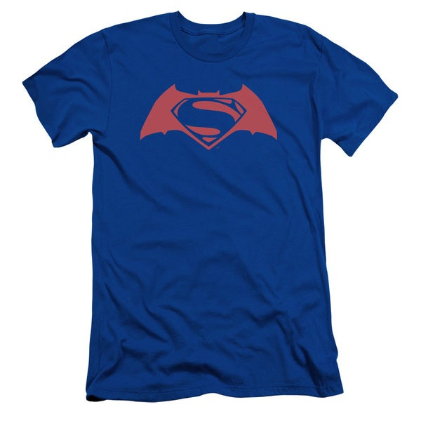 Batman V Superman/Simple Logo Short Sleeve Adult T-Shirt 30/1 in Royal