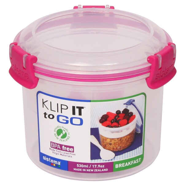 Sistema 21355 17.9 Oz Klip It Breakfast To Go Food Storage Container