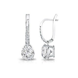 Auriya 14k Gold 3/4ct TDW Round-Cut Diamond Dangle Stud Earrings (H-I, SI1-SI2)