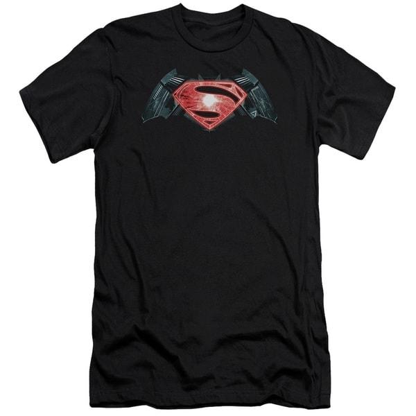 Batman V Superman/Industrial Logo Short Sleeve Adult T-Shirt 30/1 in Black