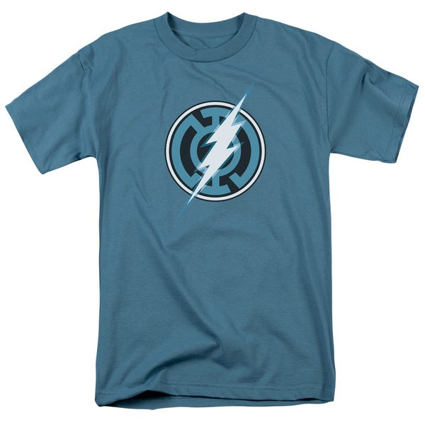 Green Lantern/Blue Lantern Flash Short Sleeve Adult T-Shirt 18/1 in Slate