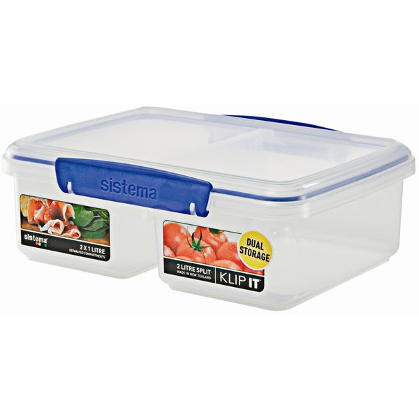 Sistema 1720 65 Oz Clear Rectangular Klip It Split Food Container