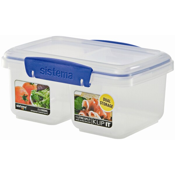 Sistema 1620 31 Oz Clear Rectangular Klip It Split Food Container