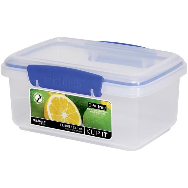 Sistema 1600 33 Oz Clear Rectangular Klip It Food Container