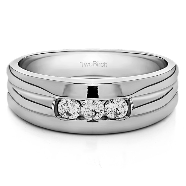 10k White Gold Three Stone Unique Men's Wedding or Unique Men's Fashion Ring With White Sapphire (0.3 Cts., colorless, N/A)
