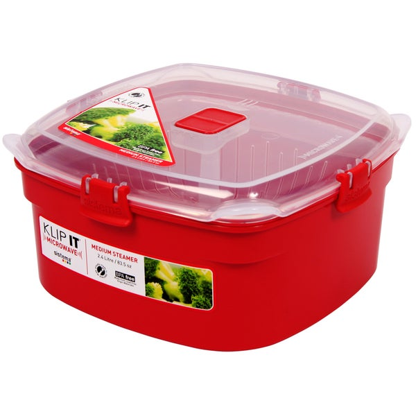 Sistema 1102 Medium Red Rectangular Klip It Microwave Steamer