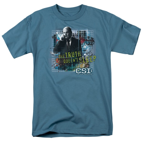 CSI/Truth Doesn't Sleep Short Sleeve Adult T-Shirt 18/1 in Slate