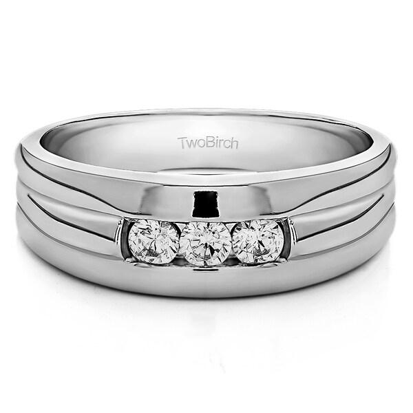 TwoBirch Sterling Silver Men's 1/3ct TDW Triple Stone Diamond Ring 20306427