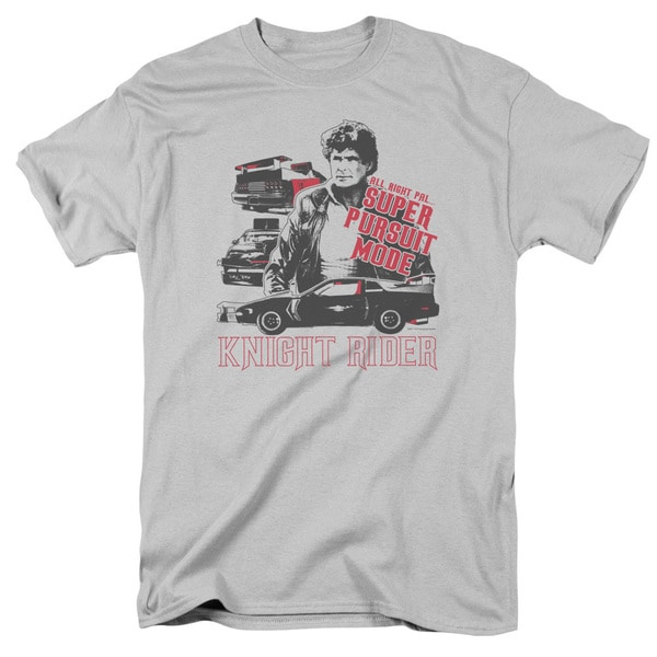 Knight Rider/Super Pursuit Mode Short Sleeve Adult T-Shirt 18/1 in Silver