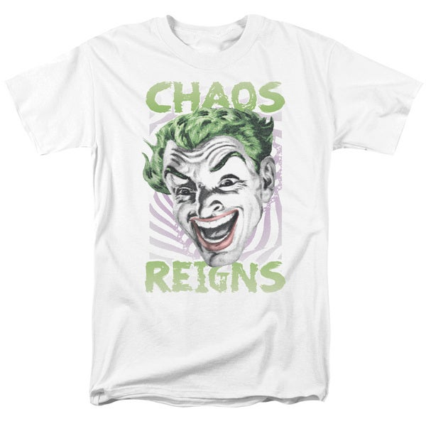 Batman Classic Tv/Chaos Reigns Short Sleeve Adult T-Shirt 18/1 in White