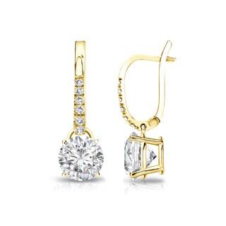 Auriya 14k Gold 1 1/4ct TDW Round-Cut Diamond Dangle Earrings (H-I, SI1-SI2)