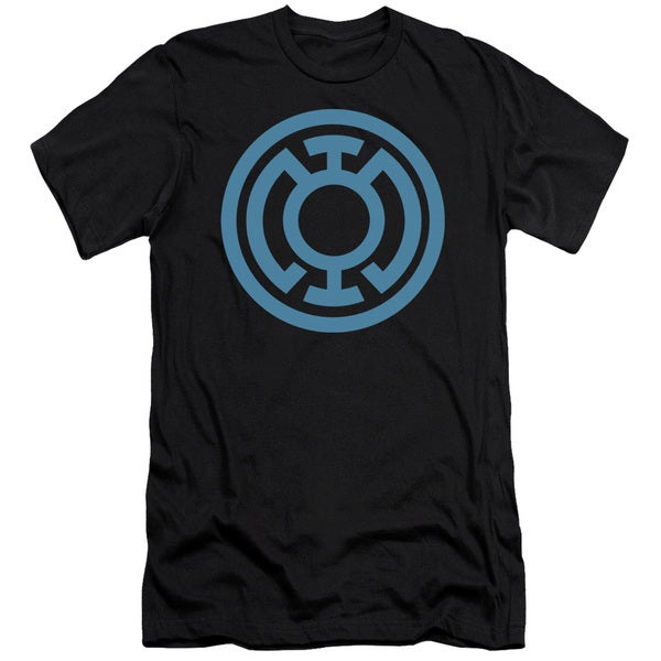 Green Lantern/Lt Blue Emblem Short Sleeve Adult T-Shirt 30/1 in Black