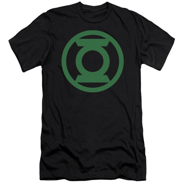 Green Lantern/Green Emblem Short Sleeve Adult T-Shirt 30/1 in Black
