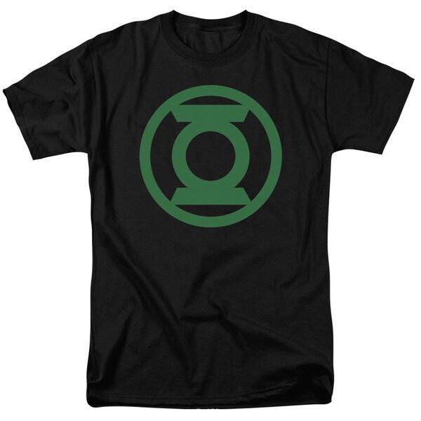 Green Lantern/Green Emblem Short Sleeve Adult T-Shirt 18/1 in Black